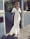 ウエディングドレス 大きいサイズ ウエディングドレス 白 二次会 花嫁 ウエディングドレス 袖あり フレアスリーブ リゾートウエディング