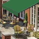 オーニングテント 幅3m×張出2m 緑 モスグリーン 黒フレーム折り畳み 伸縮 巻き上げ式