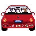 【メール便送料無料】レッドカー・ペット・マグネット From USA イタグレ(イタリアングレイハウンド) 犬のカーマグネットステッカー☆赤い車に乗った犬たちが可愛いカーステッカー 犬グッズ 犬雑貨 ドッグ)