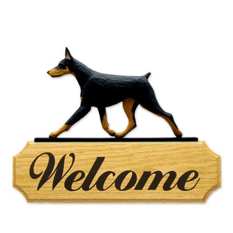 【送料無料】ウェルカムサイン 【ドーベルマン(ブラタン)】from USA (犬グッズ ウェルカムボード オーナーグッズ 玄関 開店祝い 犬雑貨 インテリア 看板 玄関グッズ セキュリティーグッズ) 【ドーベルマン】オークのボードに樹脂製のドアトッパーを載せたウェルカムサインです。