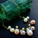 特大バロック淡水真珠 ナチュラルカラーマルチネックレス 大粒パールをジャラっと可愛く贅沢に