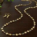 シャンパンゴールド バロック淡水真珠ネックレス ピアス/イヤリングセット シックなゴールドカラーきらめくシャラシャラネックレス♪nm