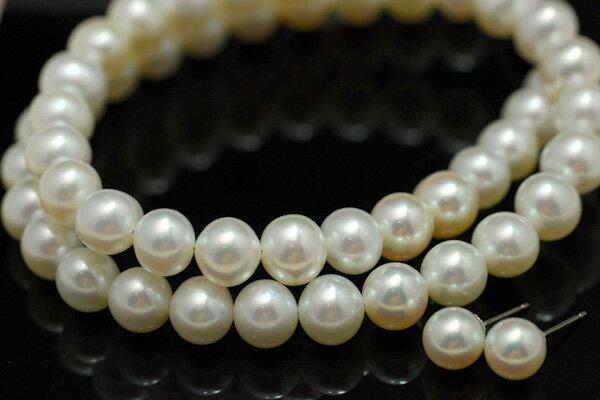 特級8mm淡水真珠ネックレス・7mm淡水真珠ピアスセット(イヤリング変更可) 冠婚葬祭対応 一つは持っていたいマストアイテム 透明感あるてりてりホワイト最強セット!