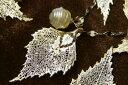 繊細にきらめくシルバーナチュラルリーフと大人の遊び心♪バロック白蝶真珠 シルバーリーフ&K14WGバロック白蝶真珠ペンダントトップ