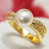 【メール便不可】8mmシャンパン白蝶真珠リング 上質の輝きの華やかなエレガント白蝶真珠を驚きのプチプラで!