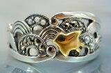 是镶嵌苍海波浪千鸟银戒指别致稍微可爱的漂亮的和设计种子珍珠和marukajitto的熏黑银的光辉[青海波千鳥シルバーリング シックでちょっと可愛い粋な和デザイン シードパールとマルカジットをちりばめたいぶし銀の輝