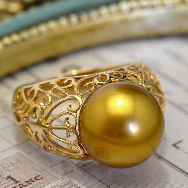 12mmゴールド黒蝶真珠K14YGリング 超激レアカラーの極上品! ゴールドを発色する黒蝶真珠の特級大珠の逸品です!