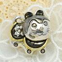 碌山 犬張子ブローチペンダント 可愛いくシックな銀細工 和のデザイン 銀の花 RP