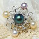 黒蝶真珠&淡水真珠ブローチペンダント てりってりのナチュラルカラー美珠のカラフル