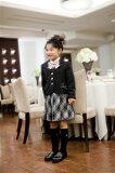 【レンタル/サイズ展開115〜130サイズ/スーツ】ピンクリボンが可愛い!ピンステッチ使い黒ジャケットスーツ