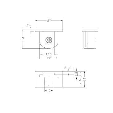 ダクトレール 天井用 端末 ライティングレールVI形シリーズ エンドキャップ