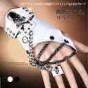 半指レザー手袋(片方)/革グローブ/髑髏/リベット付