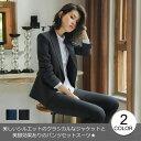 レディーススーツ/2点セット/ストライプ柄/ジャケット+パンツスーツ/長袖スーツ/ビジ