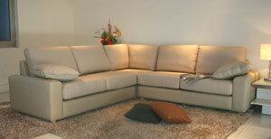 イタリア製本革使用コーナーソファ