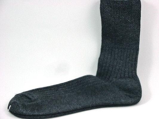 26/28 口ゴムゆったりLサイズ チャコール杢 男性用(紳士 メンズ)暖かいウールと綿とで天然素材の杢靴下口ゴムゆったりタイプ サイズ26〜28cm