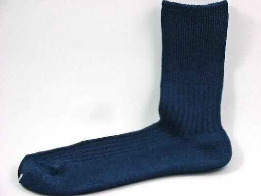 30/32 口ゴムゆったり3Lサイズ ブルー杢 男性用(紳士 メンズ)暖かいウールと綿とで天然素材の杢靴下口ゴムゆったりタイプ サイズ30〜32cm