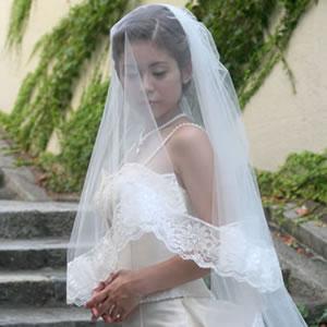 ウェディングベール ロングベール エンブレム 280cm   ロング ベール ウェディング ウエディング ブライダル 結婚式 花嫁 ホワイト オフホワイト アイボリー ウェディングドレス ヴェール レース 280 サイズオーダー オーダー