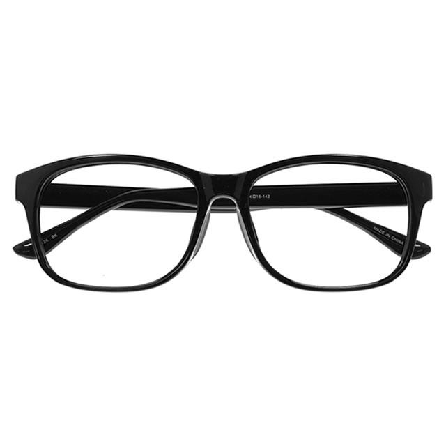 YUNIBA-TR1 BK【メガネ 度付き UNISEX TR90 ウエリントン ブラック】