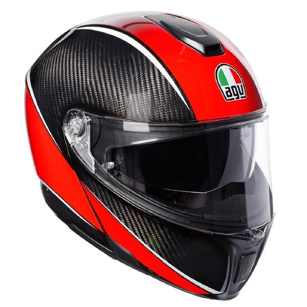 AGV SPORTMODULAR (スポーツモジュラー) AERO CARBON RED (エアロカーボンレッド) システムヘルメット サンバイザー標準装備 ピンロックシート付属 SG規格 JIS規格 (返品 交換不可商品) (日本代理店正規品) (欠品あり 次回入荷予定未定)