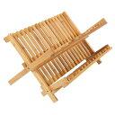 ディッシュスタンド 20スロット 竹製 バンブー 食器水切り ラック かご 皿立て 折りたたみ 食器棚 キッチン収納 ◇FAM-HFZ-20