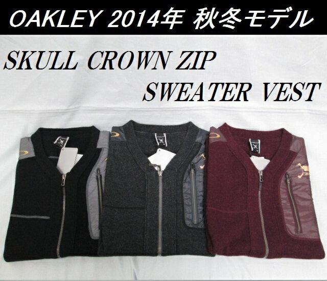 【OAKLEY】オークリー ゴルフ ウェア セーター ベストSKULL CROWN ZIP SWEATER VESTカラー:JET BLACK(01K)カラー:DARK HEATHER GRAY(20Q)カラー:AUBERGINE(82R)