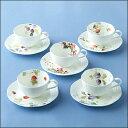 NARUMI【ナルミ】「ルーシーガーデン」コーヒーカップ&ソーサー5客セット5客碗皿 内祝い お返し 出産内祝い 結婚お祝い 結婚内祝い プレゼント コーヒー5客セット