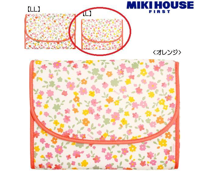 MIKIHOUSEミキハウス母子手帳・マザーダイアリーケースオレンジ花柄マザーダイアリーケースLサイ