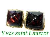 イヴサンローラン ゴールド ストーン イヤリング 赤 小物0650【中古】Yves Saint Laurentサンローランパリ
