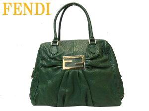 新同FENDIフェンディ MIA BAULETTO レザー ショルダーバッグ0610【中古】ギャザー グリーン 緑 トートバッグ