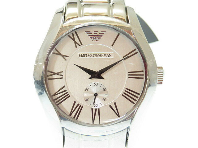 未使用 エンポリオアルマーニ AR-0647 クオーツ メンズ 腕時計 シルバー文字盤 0379【】EMPORIO ARMANI