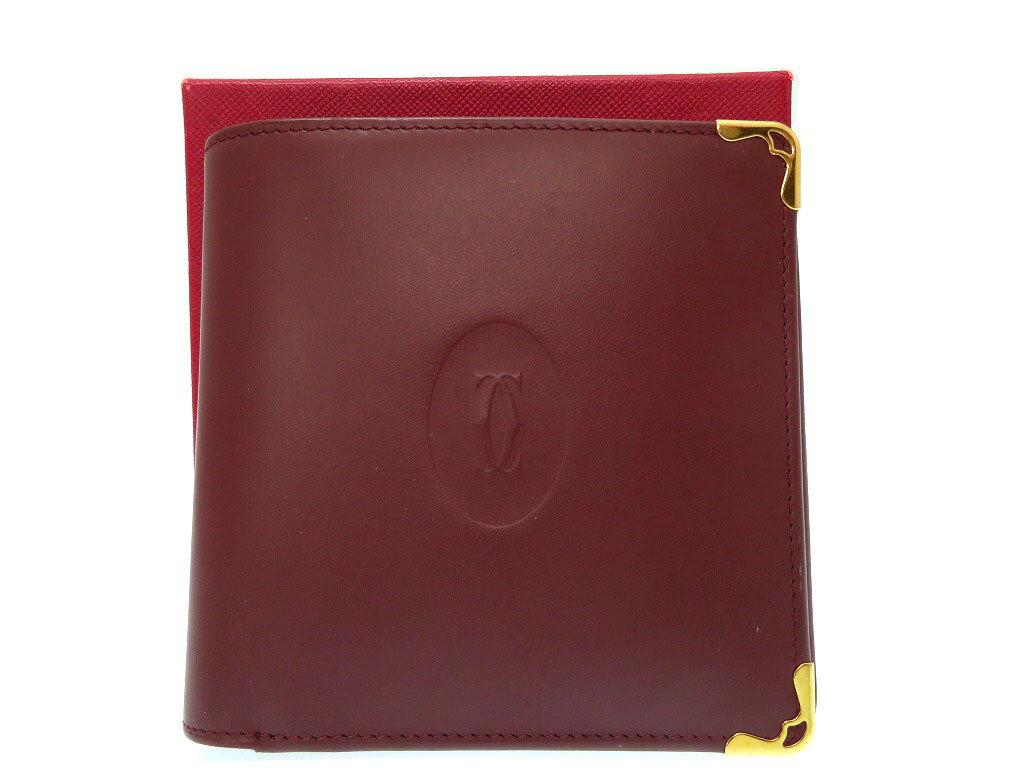 48157483cad3 新品同様 カルティエ マスト 二つ折り 財布 レザー ボルドー 0219【】CARTIER メンズ