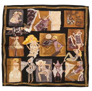美品 エルメス カレ65 Jaime mon Carre ジェーム モン カレ スカーフ シルク ブラック 黒 0129 【中古】 HERMES