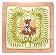 新品同様 エルメス カレ140 王者の虎 TIGRE ROYAL スカーフ シルク ピンク トラ 虎 0248 【中古】 HERMES