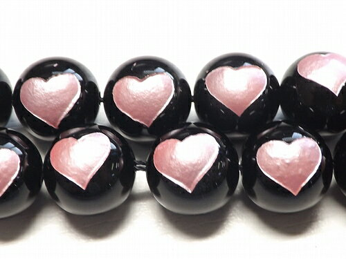 【天然石卸】 オニキス ピンク ピュアハート  12mm 一粒売り