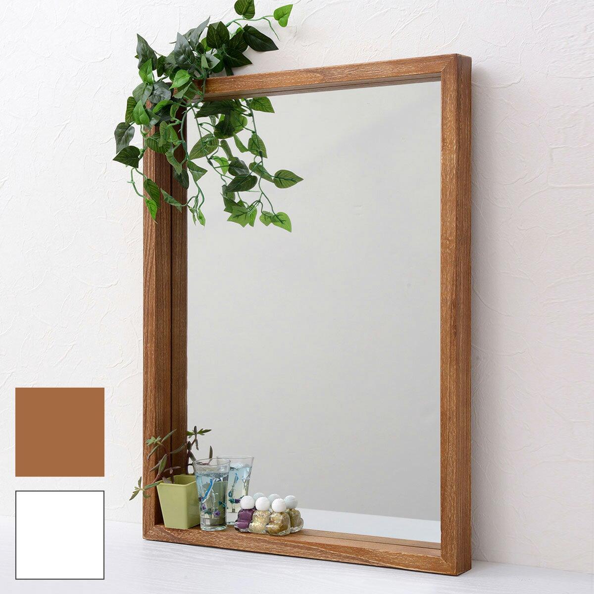 RoomClip商品情報 - 【あす楽】鏡 ミラー アンティーク ボックスミラー ANTE アンテ 天然木 北欧 シンプル おしゃれ ブラウン ホワイト 幅45 長方形