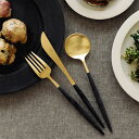 クチポール ゴア GOA ブラック ゴールド ディナー 3点 セット ディナーナイフ ディナーフォーク テーブルスプーン 各1本 ブラック/シルバー カトラリー