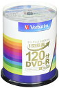 色:ホワイト サイズ:100枚 Verbatim バーベイタム 1回録画用 DVD-R CPRM 120分 100枚 ホワイトプリンタブル 片面1層 1-16倍速 VHR12JP100V4