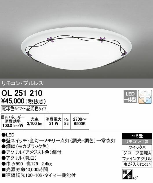 【¥15000円以上送料無料(北海道・沖縄・離島を除く)】オーデリックLEDシーリングライト OL251210