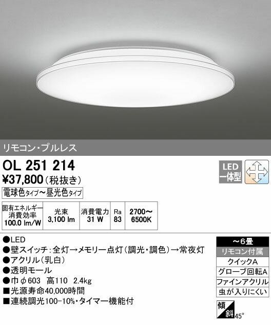 【¥15000円以上送料無料(北海道・沖縄・離島を除く)】オーデリックLEDシーリングライト OL251214