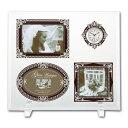 室內精巧飾品, 擺飾 - 写真立て 卓上用 ギフト グラスアンティークフォトフレーム 3ウィンドー&クロック ブラウン&シルバー GF-05082 ギフト プレゼント
