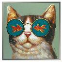 絵画 壁掛け 油絵 アート オイルペイントアート ゴールデンフィッシュキャット OP-25056 キャット ネコ 猫 グッズ特集【RCP】 包装不可 送料無料