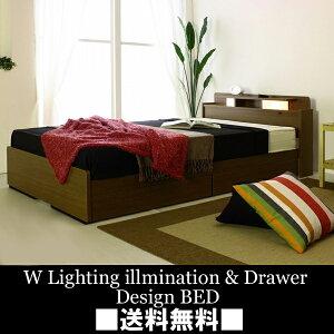 【国産F・送料無料】棚W照明引出付シングルベッドマットレス付き【RCP】SSspecial03mar13_interior