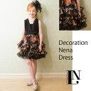 【オレンジ×ブラック】デコレーション・ネナドレス (ドレス・チューブトップ・リボン型ヘッドアクセサリー付き)