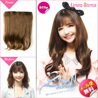 Exte-hair extensions-ワンタッチエクステ S ラインカールエクステ clip 5 type neckline type hair to S カールエクステ ★ hair wig wigs casual wedding ヘアリネアストリア LSRV
