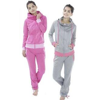 [免運費] 美粉紅色態度的飲食 (飲食飲食為婦女女士戴著大尺寸飲食西裝上下集排汗跑步慢跑是鍛煉桑拿浴服)