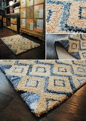 ラグマットインドデニムファブリックアウラ約50×120cm【インドデニムキリム柄じゅうたん絨毯玄関】【】
