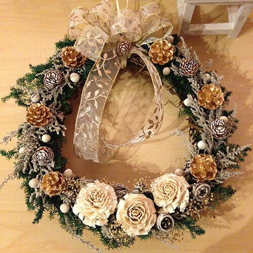 プリザーブドフラワー クリスマスリース 壁掛け プレゼント ホワイト