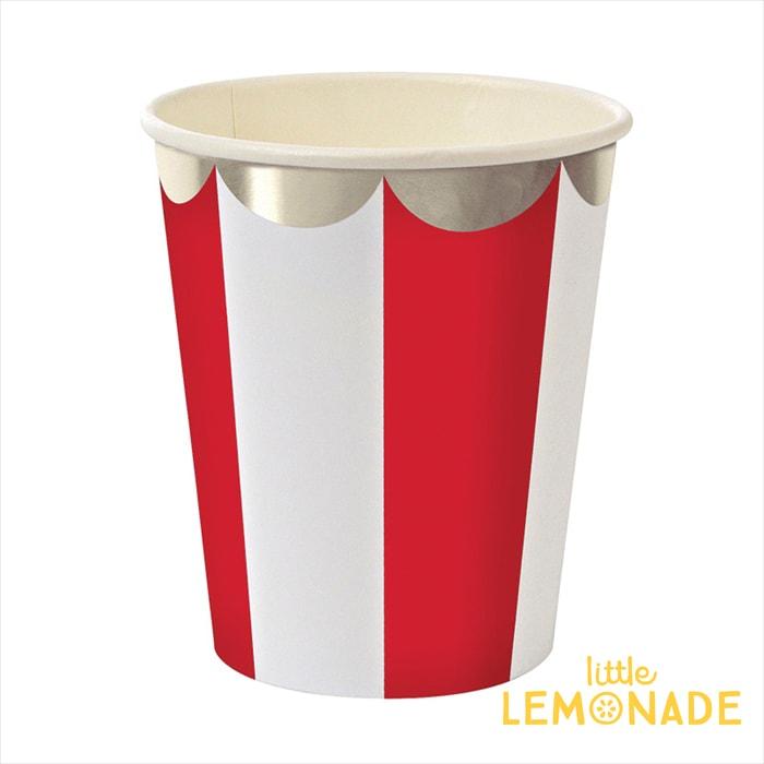 あす楽!【meri meri メリメリ】【クリスマス】赤 ストライプ ペーパーカップ【red stripe paper cup】パーティー 紙カップ クリスマスコップ テーブルのデコレーションに リトルレモネード