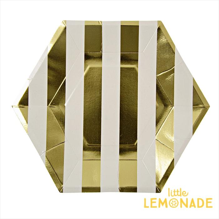 あす楽!【meri meri メリメリ】ゴールドストライプ 六角形 ペーパープレート 8枚入り【gold stripe paper plate】パーティー用紙皿 テーブルコーディネートに【クリスマス X'mas】リトルレモネード