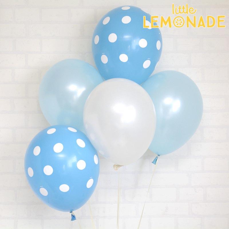あす楽!【風船】パーティーバルーン 5枚パックブルードットアソート  誕生日やお祝いの飾り付けに 【パーティーデコレーション】【アメリカ製高品質】【ネコポス可】